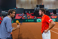 The Hague, The Netherlands, September 17, 2017,  Sportcampus , Davis Cup Netherlands - Chech Republic, Fifth match : Robin Haase (NED) is interviews by Jan Willem de Lange<br /> Photo: Tennisimages/Henk Koster