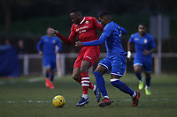 Chris Dickson of Hornchurch and Sam Mvemba of Aveley during Hornchurch vs Aveley, Buildbase FA Trophy Football at Hornchurch Stadium on 11th January 2020
