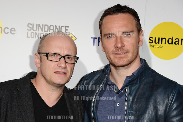 "Lenny Abrahamson and actor, Michael Fassbender at the ""Frank"" screening as part of Sundance London 2014, O2 arena, London. 25/04/2014. Picture by: Steve Vas / Featureflash"