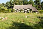 Historic attractive thatched cottages, Lockeridge Dene, near Marlborough, Wiltshire, England, UK