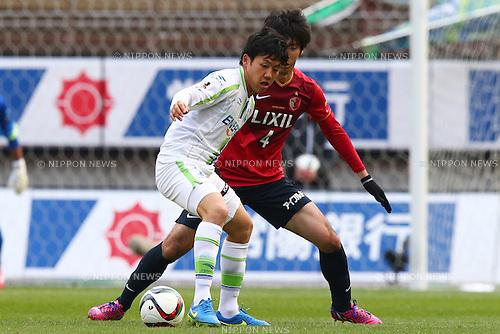 (L-R)<br /> Wataru Endo (Bellmare),<br /> Kazuya Yamamura (Antlers),<br /> MARCH 14, 2015 - Football / Soccer : <br /> 2015 J1 League 1st stage match between<br /> Kashima Antlers 1-2 Shonan Bellmare<br /> at Kashima Soccer Stadium in Ibaraki, Japan.<br /> (Photo by Shingo Ito/AFLO SPORT)
