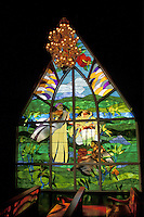 Stain glass window depicting Hawaiian history and culture, chapel of the Grand Wailea hotel, Maui