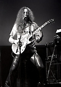 URIAH HEEP - Ken Hensley on guitar  - performing live on the 10th Anniversary tour at the Odeon in Birmingham UK - 01 Feb 1980.  Photo credit: George Bodnar Archive/IconicPix