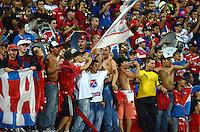 MEDELLIN - COLOMBIA -14 -02-2016: Hinchas de Deportivo Independiente Medellin, animan a su equipo durante partido entre Deportivo Independiente Medellin y Cortulua por la fecha 4 la Liga Aguila I 2016, jugado en el estadio Atanasio Girardot de la ciudad de Medellin. / Fans of Deportivo Independiente Medellin, cheer for their team, during a match for the date 4 between Deportivo Independiente Medellin and Cortulua, of the Liga Aguila I 2016 at the Atanasio Girardot stadium in Medellin city. Photo: VizzorImage. / Leon Monsalve / Str.