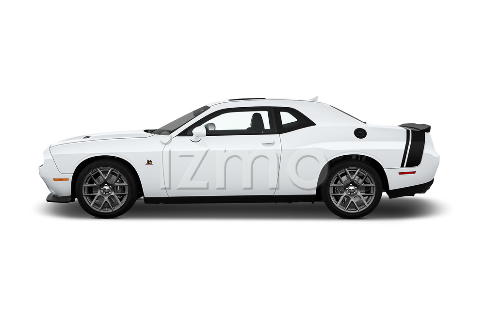 Car Driver side profile view of a 2016 Dodge Challenger Scat-Pack 2 Door Coupe Side View