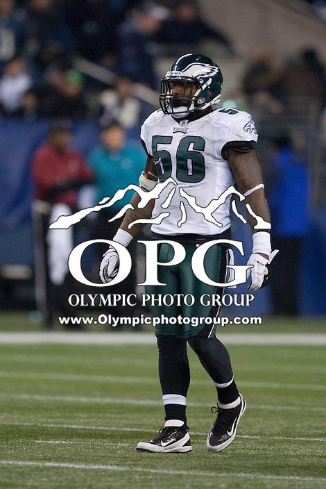 Dec 1, 2011: Philadelphia's Akeem Jordan against Seattle.  Seattle defeated Philadelphia 31-14 at Century Link Field in Seattle, Washington.