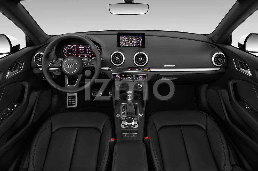 Stock photo of straight dashboard view of a 2018 Audi A3 Premium 2 Door Convertible