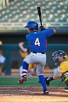 AZL Rangers Heriberto Hernandez (4) at bat during an Arizona League game against the AZL Athletics Gold on July 15, 2019 at Hohokam Stadium in Mesa, Arizona. The AZL Athletics Gold defeated the AZL Rangers 9-8 in 11 innings. (Zachary Lucy/Four Seam Images)