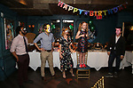"""Kareem M. Lucas, Matt Harrington, Kate MacCluggage, Charlotte Wise and Craig Wesley Divino attend the Birthday Party Photo Call for the Wheelhouse Theater Company production of Kurt Vonnegut's """"Happy Birthday, Wanda June""""  on October 3, 2018 at Bond 45 Times Square in New York City."""