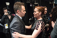 Sam Rockwell and guest backstage during the live ABC Telecast of The 90th Oscars&reg; at the Dolby&reg; Theatre in Hollywood, CA on Sunday, March 4, 2018.<br /> *Editorial Use Only*<br /> CAP/PLF/AMPAS<br /> Supplied by Capital Pictures