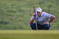 Jim Furyk (USA) lines up his putt on 10 during day 1 of the Valero Texas Open, at the TPC San Antonio Oaks Course, San Antonio, Texas, USA. 4/4/2019.<br /> Picture: Golffile | Ken Murray<br /> <br /> <br /> All photo usage must carry mandatory copyright credit (© Golffile | Ken Murray)