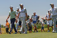 Billy Horschel (USA), Sergio Garcia (ESP), and Ryan Palmer (USA) make their way down 3 during round 2 of the AT&amp;T Byron Nelson, Trinity Forest Golf Club, at Dallas, Texas, USA. 5/18/2018.<br /> Picture: Golffile | Ken Murray<br /> <br /> <br /> All photo usage must carry mandatory copyright credit (&copy; Golffile | Ken Murray)