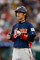 Tsuyoshi Nishioka of Japan during World Baseball Championship at Angel Stadium in Anaheim,California on March 12, 2006. Photo by Larry Goren/Four Seam Images