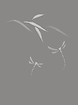 Dragonflies and leaves Beautiful simple Japanese Zen ink painting artwork design illustration on light gray background