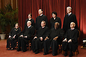Members of the US Supreme Court pose for a group photograph at the Supreme Court building on June 1 2017 in Washington, DC. Front row. Seated from left, Associate Justice Ruth Bader Ginsburg, Associate Justice Anthony M. Kennedy, Chief Justice of the United States John G. Roberts, Associate Justice Clarence Thomas, and Associate Justice Stephen Breyer and Standing behind from left, Associate Justice Elena Kagan, Associate Justice Samuel Alito Jr., Associate Justice Sonia Sotomayor, and Associate Justice Neil Gorsuch. <br /> Credit: Olivier Douliery / Pool via CNP