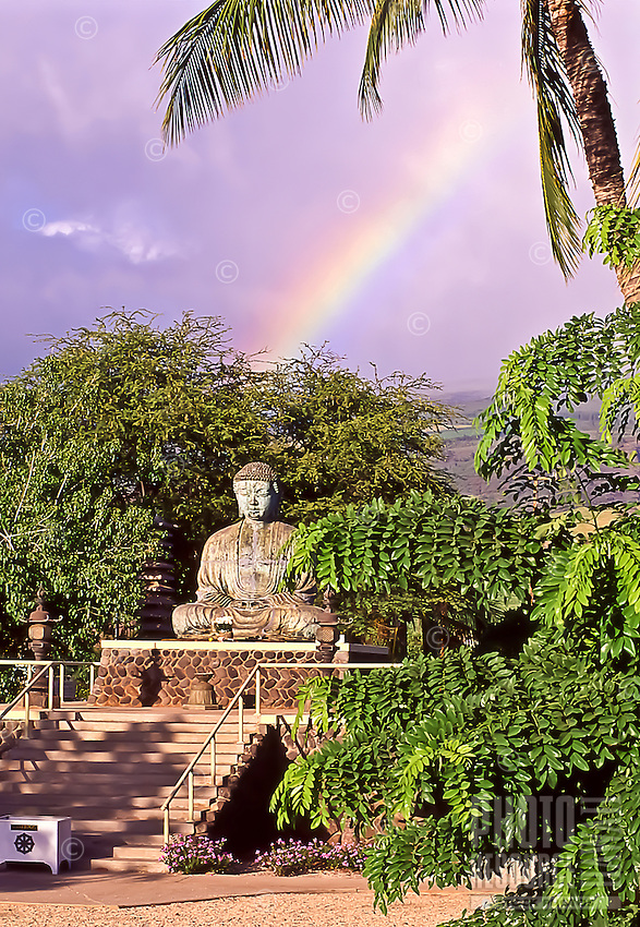 Dharma rainbow: A rainbow over the Buddha statue at the Lahaina Jodo Mission, Maui.