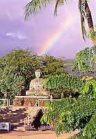 Dharma rainbow: A rainbow over the Buddha statue at the Lahaina Jodo Mission, Maui.