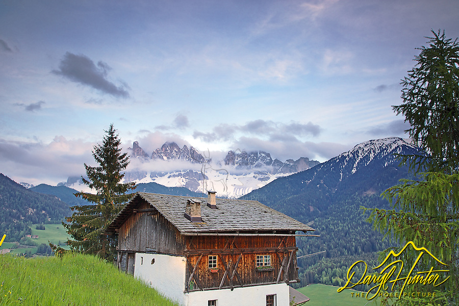 Old chalet, Val di Funnes, Dolomite Mountains, South Tyrol, Italy