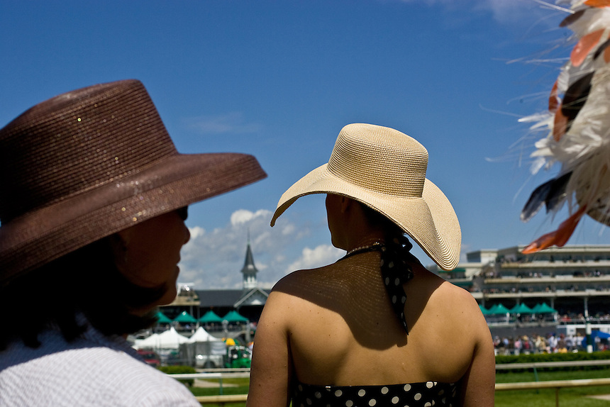 Women wear Derby Hats at the Kentucky Derby at Churchill Downs race track. Derby hats have long been a tradition in style at the Kentucky Derby.