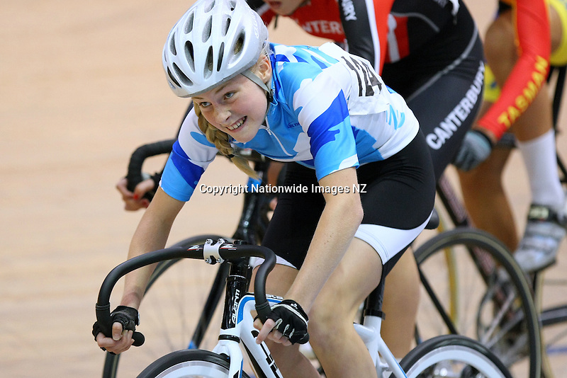 Auckland's Jenna Merrick out front in the W15 Scratch race final at the Age Group Track Cycling Championships, Stadium Southland Velodrome, Invercargill, New Zealand, Friday, March 01, 2013. Credit:NINZ / Dianne Manson.