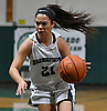 Christiana de Borja #21 of Harborfields dribbles downcourt during the Suffolk County varsity girls basketball Class A semifinals against Shoreham-Wading River at Harborfields High School in Greenlawn, NY on Tuesday, Feb. 21, 2017.