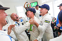 Picture by Alex Whitehead/SWpix.com - 12/09/2014 - Cricket - LV County Championship Div One - Nottinghamshire CCC v Yorkshire CCC, Day 4 - Trent Bridge, Nottingham, England - Yorkshire's players celebrate in the dressing room after winning the title.