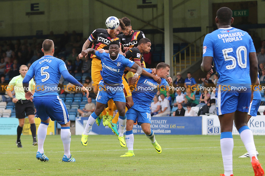 Bradford City's Romain Vincelot wins an aerial challenge with Gillingham's Deji Oshilaja and a couple of his own players during Gillingham vs Bradford City, Sky Bet EFL League 1 Football at the MEMS Priestfield Stadium on 10th September 2016