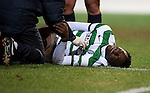 St Johnstone v Celtic...18.12.11   SPL .Victor Wanyama lies injured.Picture by Graeme Hart..Copyright Perthshire Picture Agency.Tel: 01738 623350  Mobile: 07990 594431