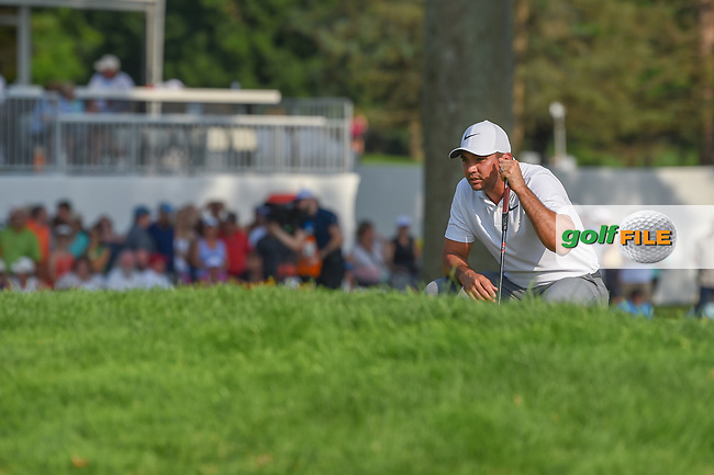 Jason Day (AUS) lines up his putt on 18 during 4th round of the World Golf Championships - Bridgestone Invitational, at the Firestone Country Club, Akron, Ohio. 8/5/2018.<br /> Picture: Golffile   Ken Murray<br /> <br /> <br /> All photo usage must carry mandatory copyright credit (© Golffile   Ken Murray)