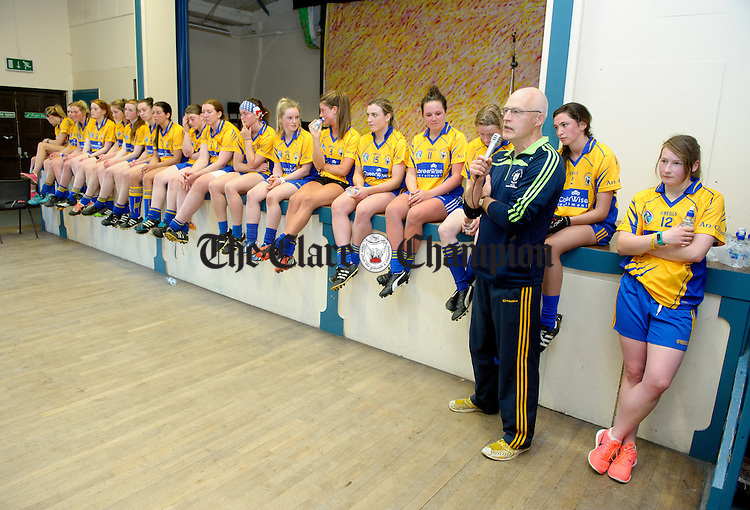 Manager Colm Honan speaking during the Clare Senior Camogie team's Open Training Night in Sixmilebridge. Photograph by John Kelly.