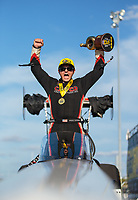 Sep 23, 2018; Madison, IL, USA; NHRA top fuel driver Steve Torrence after winning the Midwest Nationals at Gateway Motorsports Park. Mandatory Credit: Mark J. Rebilas-USA TODAY Sports