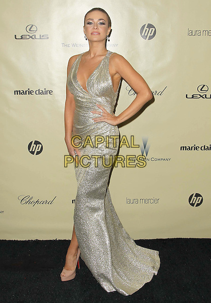 Carmen Electra.The Weinstein Company's 2013 Golden Globe After Party held at The Old trader vic's at The Beverly Hilton Hotel in Beverly Hills, California, USA..January 13th, 2013.globes full length dress wrap silver metallic hand on hip.CAP/ADM/KB.©Kevan Brooks/AdMedia/Capital Pictures.