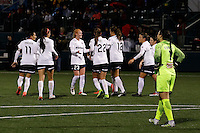 Rochester, NY - Friday April 29, 2016: The Washington Spirit celebrate scoring a goal. The Washington Spirit defeated the Western New York Flash 3-0 during a National Women's Soccer League (NWSL) match at Sahlen's Stadium.