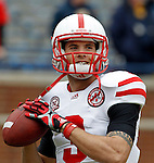Nebraska quarterback Taylor Martinez warms up before an NCAA college football game against Michigan, Saturday, Nov. 19, 2011, in Ann Arbor, Mich. (AP Photo/Tony Ding)