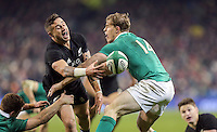 19th November 2016 | IRELAND vs NEW ZEALAND<br /> <br /> TJ Perenara is tackled by Andrew Trimble but gets the off load away for Malakai Fekitoa to score during the Autumn Series International clash between Ireland and New Zealand at the Aviva Stadium, Lansdowne Road, Dublin,  Ireland. Photo by John Dickson/DICKSONDIGITAL