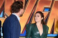 Tom Hiddleston &amp; Elizabeth Olsen arriving for the &quot;Avengers: Infinity War&quot; fan event at the London Television Studios, London, UK. <br /> 08 April  2018<br /> Picture: Steve Vas/Featureflash/SilverHub 0208 004 5359 sales@silverhubmedia.com