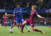 30th September 2017, Stamford Bridge, London, England; EPL Premier League football, Chelsea versus Manchester City; Kevin De Bruyne of Manchester City fouls Willian of Chelsea