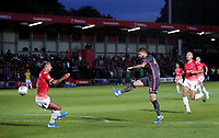 Leeds United's Mateusz Klich scores his side's third goal<br /> <br /> Photographer Alex Dodd/CameraSport<br /> <br /> The Carabao Cup First Round - Salford City v Leeds United - Tuesday 13th August 2019 - Moor Lane - Salford<br />  <br /> World Copyright © 2019 CameraSport. All rights reserved. 43 Linden Ave. Countesthorpe. Leicester. England. LE8 5PG - Tel: +44 (0) 116 277 4147 - admin@camerasport.com - www.camerasport.com