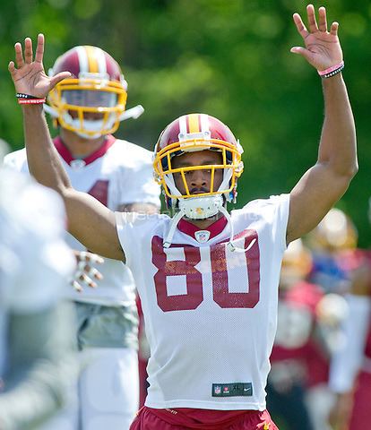 Washington Redskins wide receiver Jamison Crowder (80) participates  in an organized team activity (OTA) at Redskins Park in Ashburn, Virginia on Wednesday, May 25, 2015.<br /> Credit: Ron Sachs / CNP/MediaPunch ***FOR EDITORIAL USE ONLY***