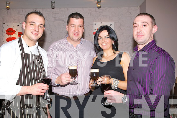 COFFEE: Drinking the Irish Coffee's In Daiites' Vanilla Restaurant, Tralee to bring inn the New Year on Friday night, L-r: Michael Safarik (Tralee), Tim and Marie Jones(Killarney)   and Ciaran Usher (Tralee)..Strand Road laundrette..... . ............................... ..........