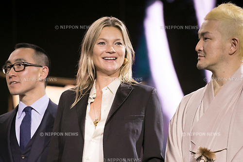 (L to R) Lawrence Ho chairman and CEO of Melco Resorts and Entertainment Ltd., model Kate Moss and kabuki actor Shido Nakamura, attend the opening ceremony for the KIMONO ROBOTO exhibition at Omotesando Hills on November 30, 2017, Tokyo, Japan. The exhibition features 13 kimonos created by experts using traditional methods and a humanoid robot dressed in traditional kimono performing in the middle of the hall. The exhibition runs til December 10. (Photo by Rodrigo Reyes Marin/AFLO)