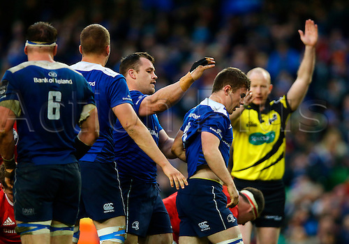 02.04.2016. Aviva Stadium, Dublin, Ireland. Guinness Pro12.  Leinster versus Munster. Luke McGrath (Leinster) gets praise from his teammates after winning a penalty.