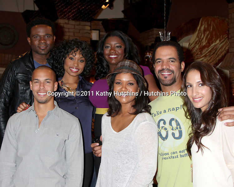 LOS ANGELES - MAR 24:  (Back row l-r) Darius McCrary, Angell Conwell, Julia Pace Mitchell, (Front Row l-r)Bryton James, Tonya Lee Williams, Kristoff St John, Christel Khalil Hensley at the Young & Restless 38th Anniversary On Set Press Party at CBS Television City on March 24, 2011 in Los Angeles, CA