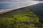 Aerial view looking northwest along Ninety Mile Beach with Aupouri Forest to the right. Far North, Northland, New Zealand.