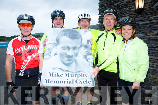 Pictured at the Marina in Cahersiveen fro the Iron Man Memorial Cycle were l-r; Mike Cahill, Ray Reidy, Pádraig Brennan, Johnny Horgan & Anita Bodenhan.