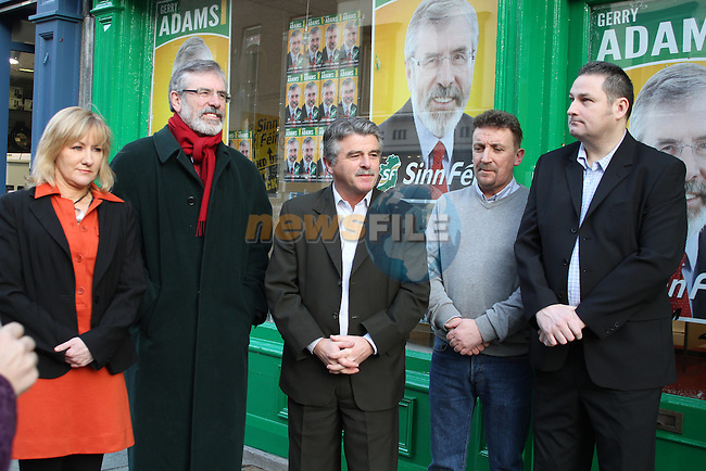 Imelda Munster, Gerry Adams, Arthur Morgan, Paddy McQuillan and Matthew Coogan at the Official Opening of Sinn Fein Election Campaign Office in Drogheda...(Photo credit should read Jenny Matthews www.newsfile.ie)....This Picture has been sent you under the conditions enclosed by:.Newsfile Ltd..The Studio,.Millmount Abbey,.Drogheda,.Co Meath..Ireland..Tel: +353(0)41-9871240.Fax: +353(0)41-9871260.GSM: +353(0)86-2500958.email: pictures@newsfile.ie.www.newsfile.ie.