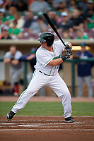 Dayton Dragons designated hitter James Vasquez (25) at bat during a game against the Cedar Rapids Kernels on May 10, 2017 at Fifth Third Field in Dayton, Ohio.  Cedar Rapids defeated Dayton 6-5 in ten innings.  (Mike Janes/Four Seam Images)