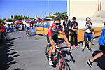 Tosh Van Der Sande (BEL) Lotto-Soudal arrives at sign on before the start of Stage 2 of La Vuelta 2019 running 199.6km from Benidorm to Calpe, Spain. 25th August 2019.<br /> Picture: Eoin Clarke | Cyclefile<br /> <br /> All photos usage must carry mandatory copyright credit (© Cyclefile | Eoin Clarke)