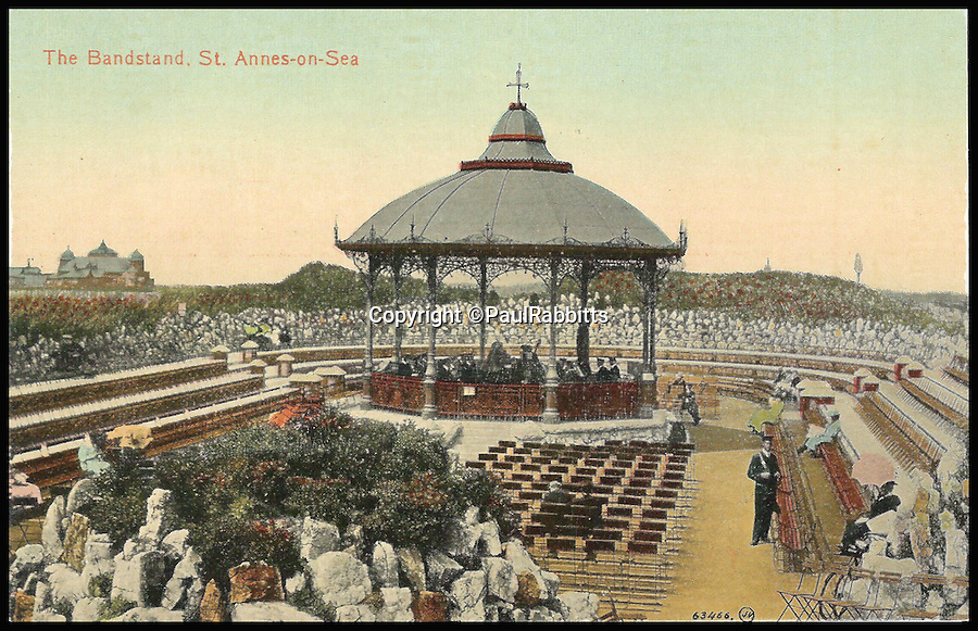 BNPS.co.uk (01202 558833)<br /> Pic: PaulRabbitts/BNPS<br /> <br /> ***Please Use Full Byline***<br /> <br /> The bandstand at St Anne's-on-Sea, Lancashire. Lost, date unknown.<br /> <br /> A landscape gardener is trumpeting the great British creation of the bandstand after touring the country's parks to study the iconic structures for a new book.<br /> <br /> Paul Rabbitts' work is a celebration of the Victorian platforms and a throwback to the halycon days of outdoor music when thousands of people would gather in public parks for a brass band performance.