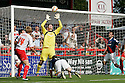 Adam Collin of Carlisle saves from Mark Roberts of Stevenage. Stevenage v Carlisle United - npower League 1 -  Lamex Stadium, Stevenage . - 18th August, 2012. © Kevin Coleman 2012
